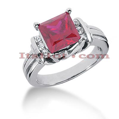 Ruby Engagement Rings Gemstone Diamond Ring 14K 018ctd 225ctr