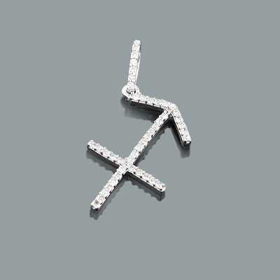 Sagittarius Pendant with Diamonds 0.17ct 10K Gold Charm