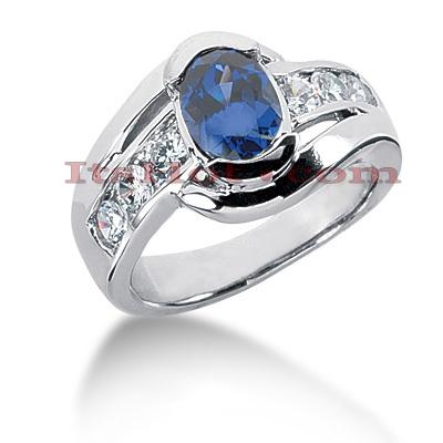 Sapphire Engagement Rings Ladies Diamond Ring 072ctd 125cts 14K