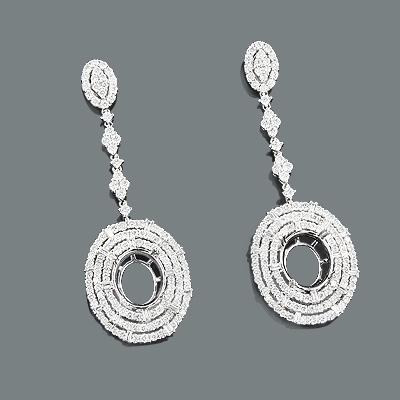 Semi Mount Diamond Drop Earrings 3.96ct 18K Gold
