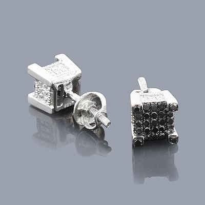 Sterling Silver Black Diamond Earrings Studs 0.45ct