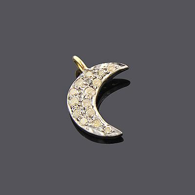 Silver Champagne Diamond Moon Pendant 0.18ct