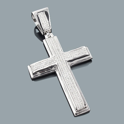 Silver Diamond Cross Pendant 0.65ct