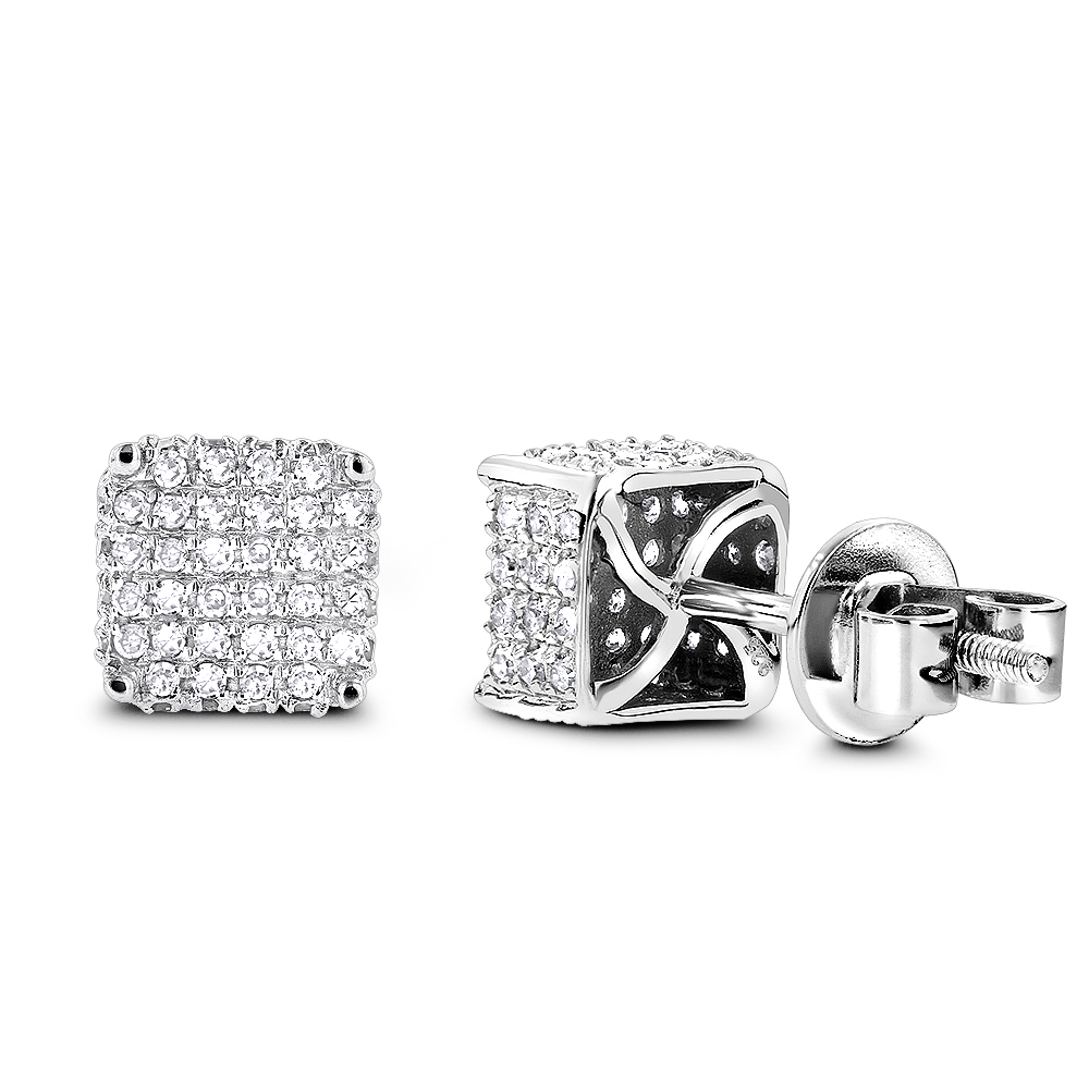 Silver Diamond Earrings 0.75ct
