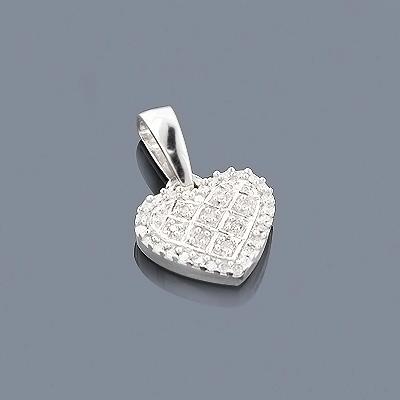 Silver Diamond Heart Pendant 0.20ct