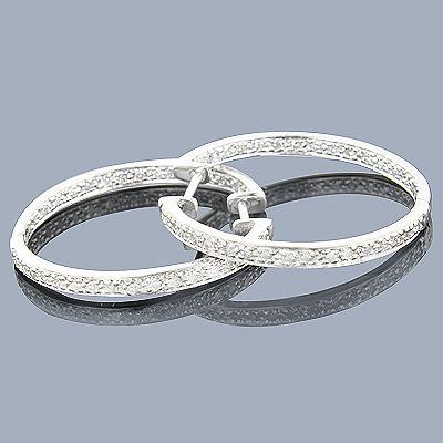 Silver Inside Out Diamond Hoop Earrings 0.75ct