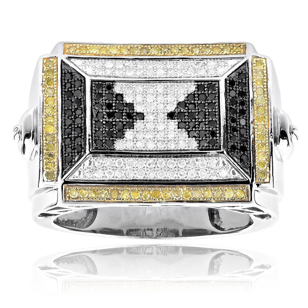 Silver Mens Ring White Black Yellow Diamonds 0.88ct