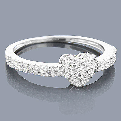 Silver Pave Diamond Heart Ring 0.30ct