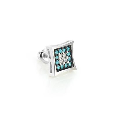 Single White and Blue Diamond Stud Earring 0.18ct 14K Gold