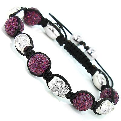 Skull Bead Purple Disco Ball Bracelet with Crystals