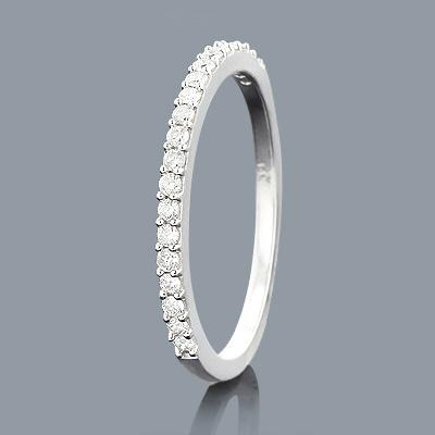 Ultra Thin Slim Round Diamond Wedding Band 0.24ct 14K Gold