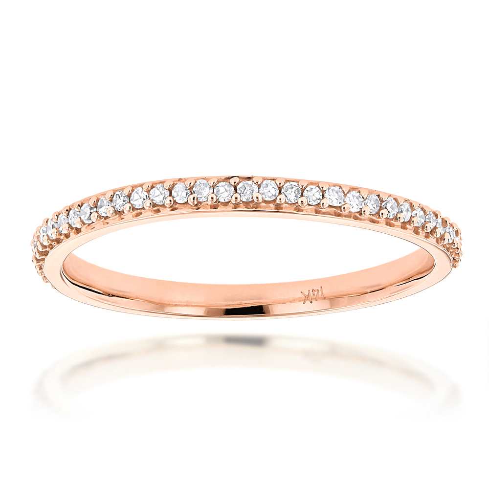 Ultra Thin Slim Stackable Diamond Ring 0.18ct 14K Gold