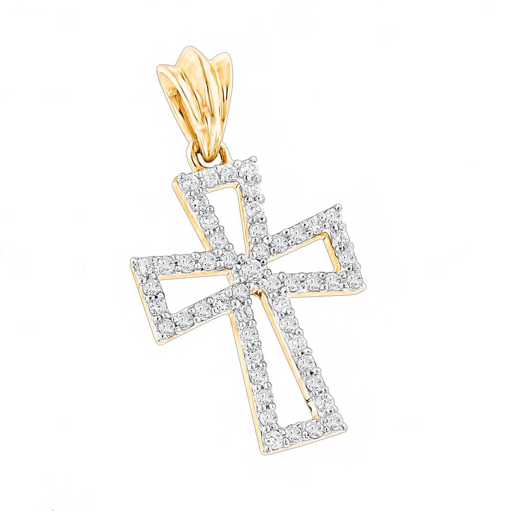 Small 14K Gold Diamond Cross Pendant  for Women 0.2ct