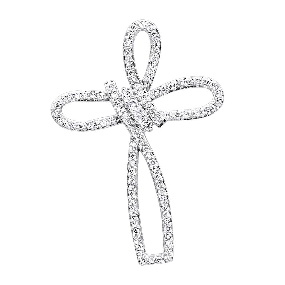 Small 14k Gold Diamond Cross Pendant for Women Fancy Bow Design 0.36ct