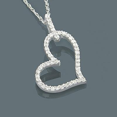 Small 14K Gold Diamond Heart Pendant 0.20ct