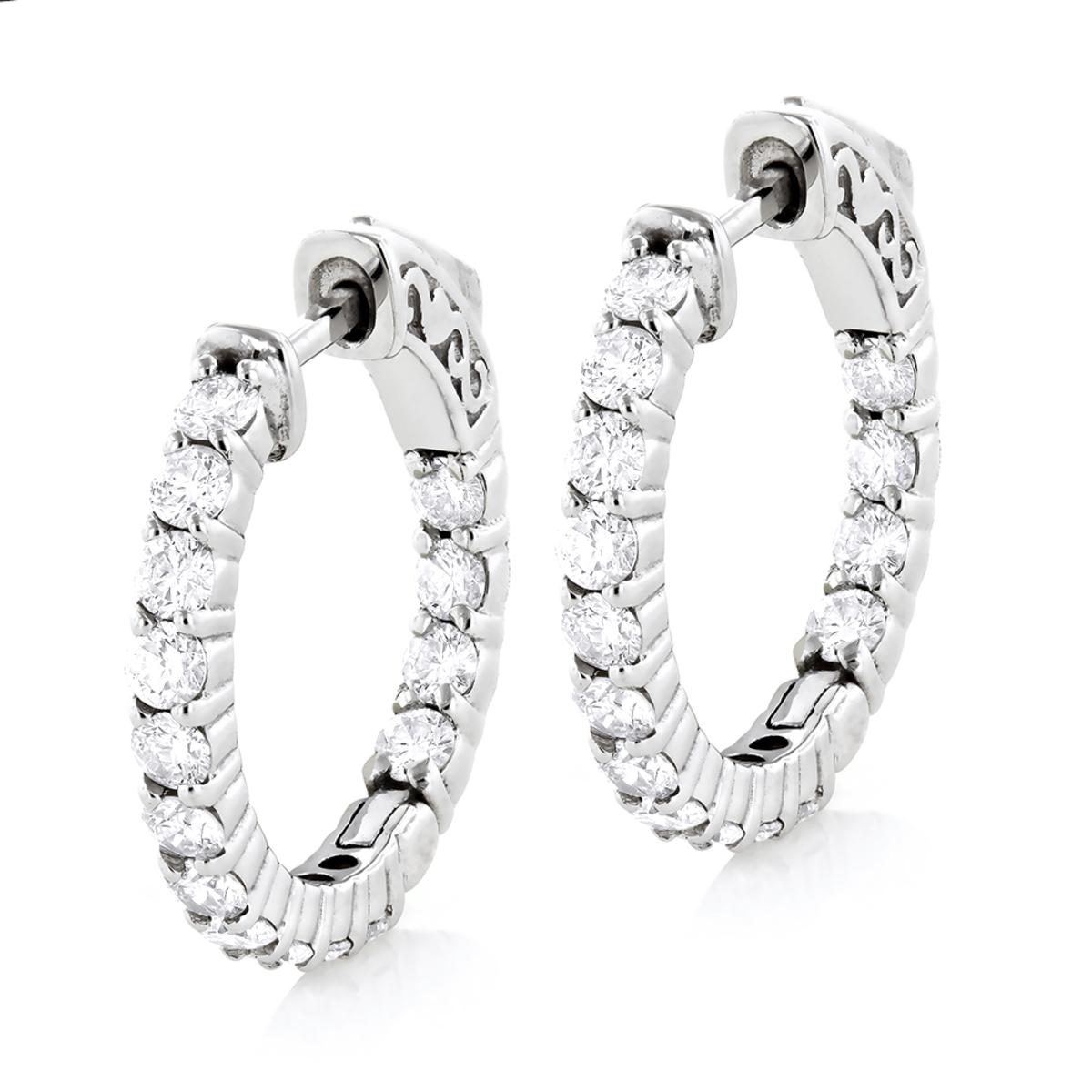 Small 14K Gold Inside Out Diamond Hoop Earrings 1.79ct