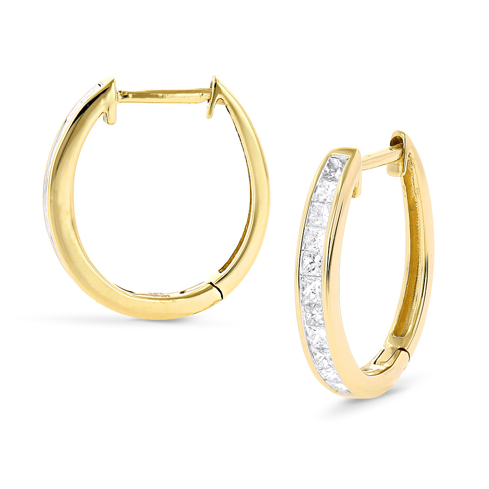 Small 14K Gold Princess Cut Diamond Hoop Earrings 0.6ct Luxurman ...
