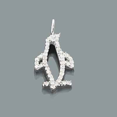 Small Animal Charms: Cute Diamond Penguin Pendant 0.18ct 10K