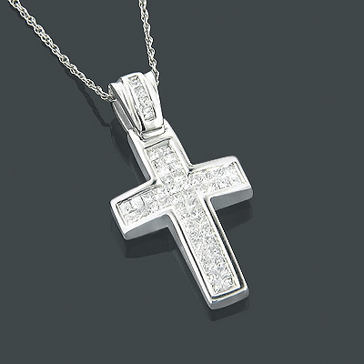 Small Crosses 14K Princess Diamond Cross Pendant 0.62