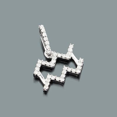 Small Diamond Aquarius Pendant 0.14ct 10K Zodiac Jewelry