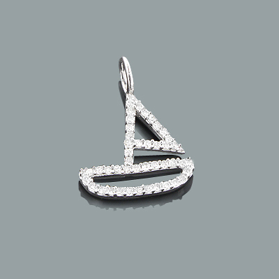 Small Diamond Charms: 10K Gold Boat Pendant 0.17ct