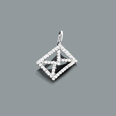 Small Diamond Envelope Pendant in 10K Gold 0.18ct Charm