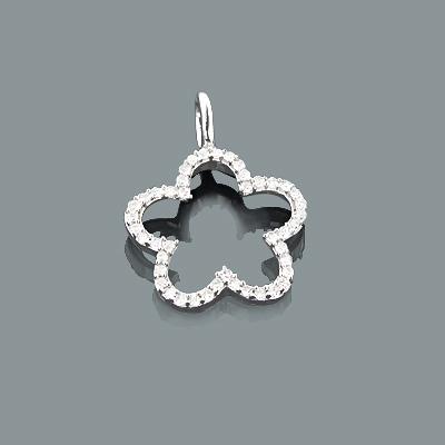 Small Diamond Flower Pendant 0.17ct 10K Gold Charm