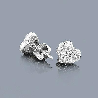 Small Diamond Heart Earrings Studs 0.24ct 14K