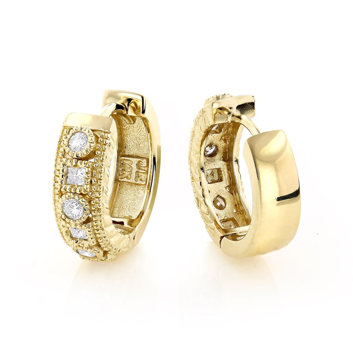 Small Diamond Hoop Earrings 1/2ct 14K Gold Huggies