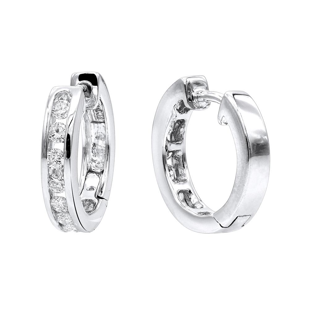 Small Diamond Hoop Earrings For Men and Women 1/2ct Huggies 14k Gold
