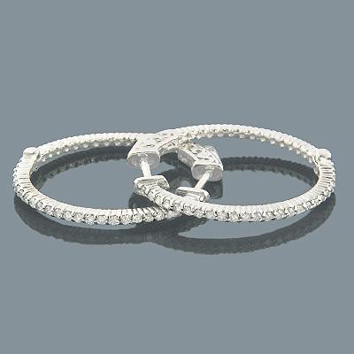 Small Diamond Hoops 14K Diamond Hoop Earrings 0.55ct