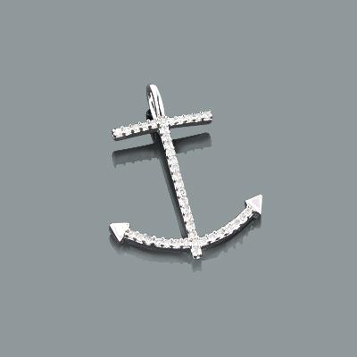 Small Diamond Pendants: Gold Anchor Charm 0.16ct 10K