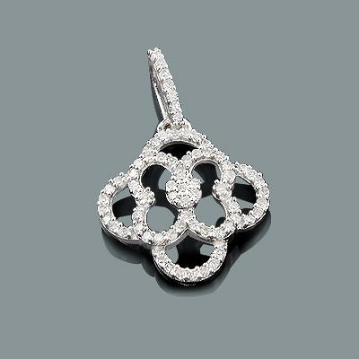 Small Gold Diamond Flower Pendant 0.29ct 14K Gold