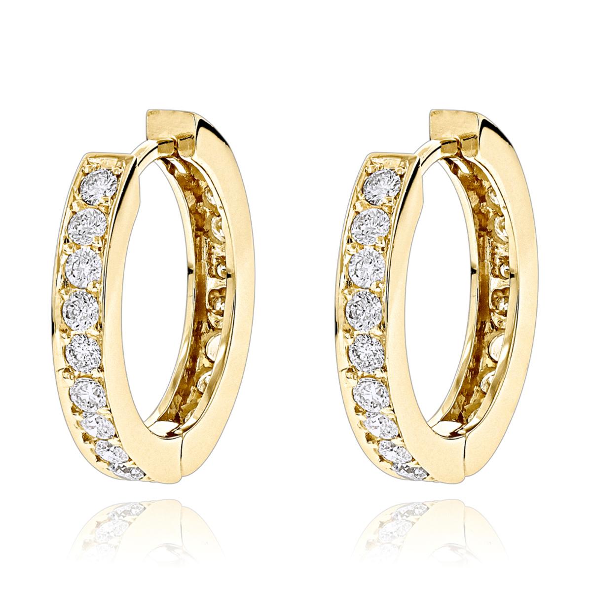 Small Hoop Earrings: 14K Gold Inside Out Diamond Huggie Earrings 1.2ct