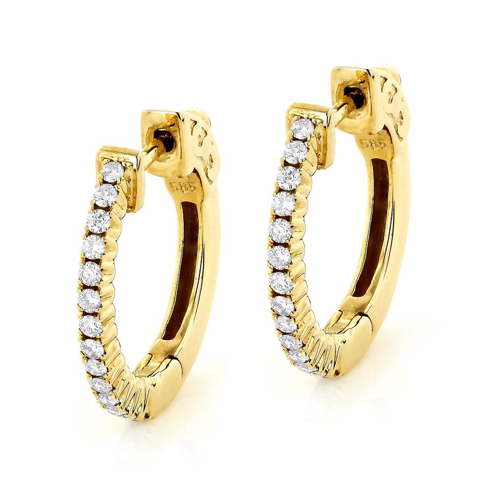 Small Hoops: 14K Diamond Hoop Earrings 0.36ct
