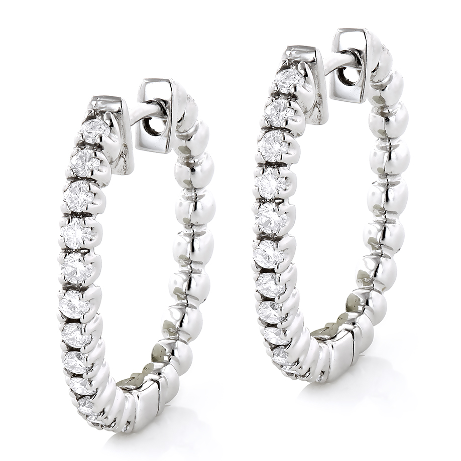 Small Hoops 14K Gold Round Diamond Hoop Earrings 0.53