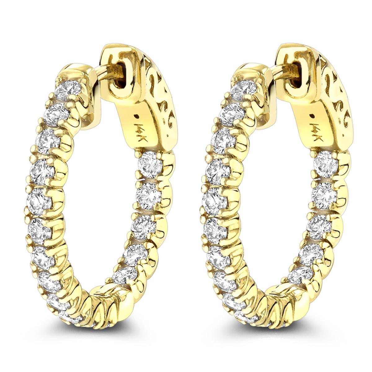 Small Hoops 14K Inside Out Diamond Hoop Earrings 1.06