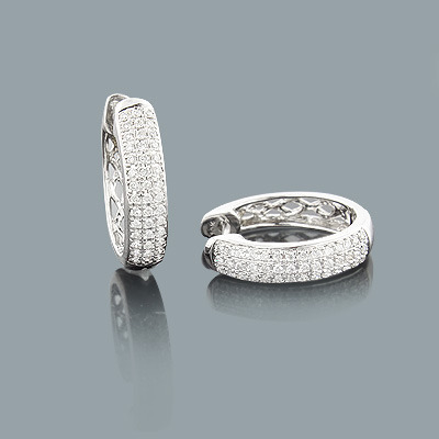 Small Pave Diamond Hoop Earrings 0.27ct 10K Gold
