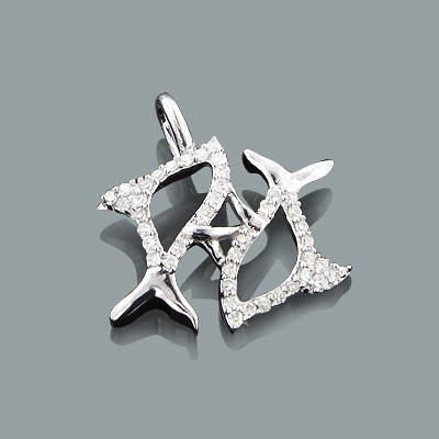 Small Pisces Pendant with Diamonds 0.14ct 10K Gold Charm