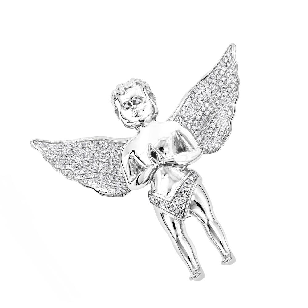 Small Praying Diamond Angel Pendant in 10K White Yellow or Rose Gold 0.6ct