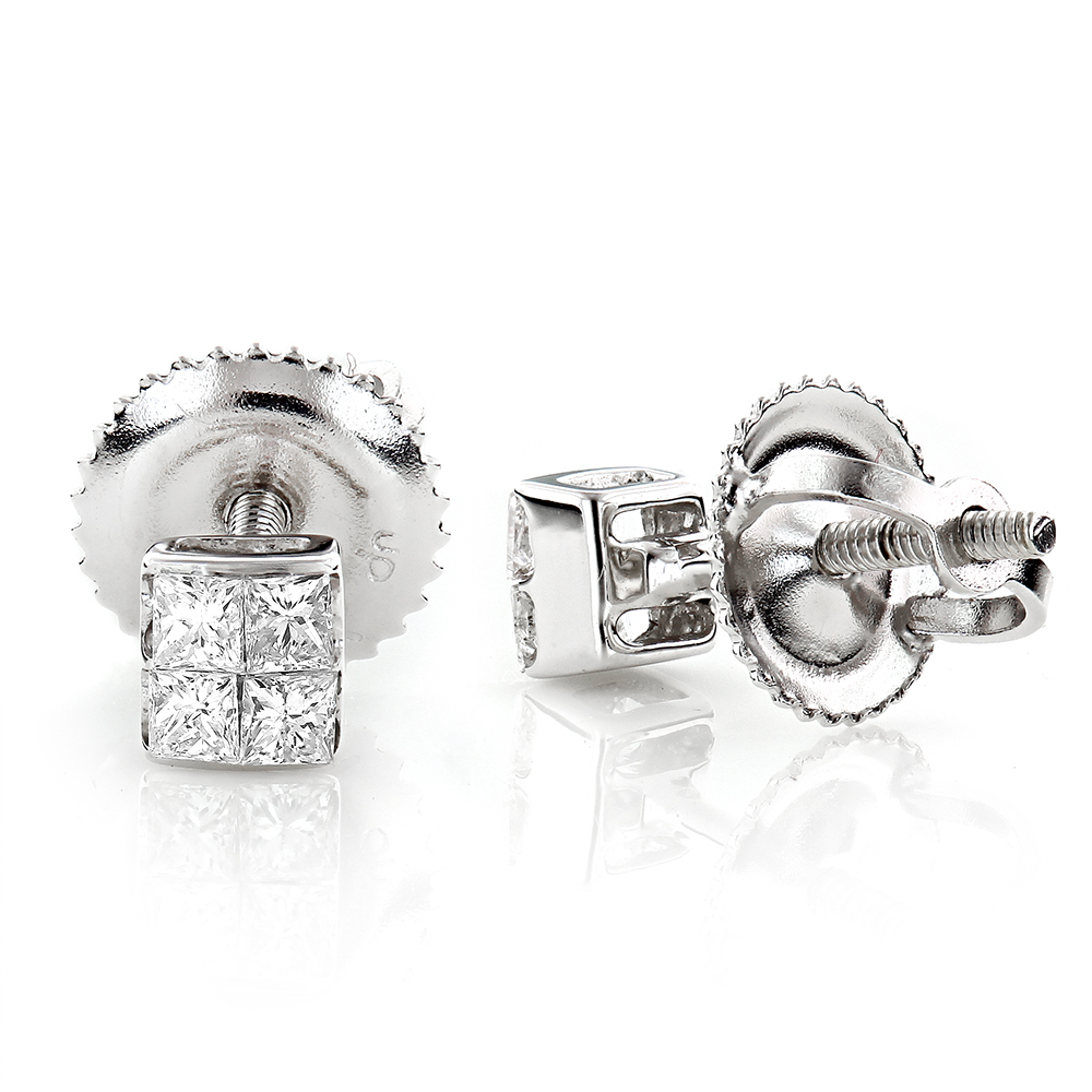 Small Princess Cut Diamond Earrings Studs 0.3ct 14K Gold