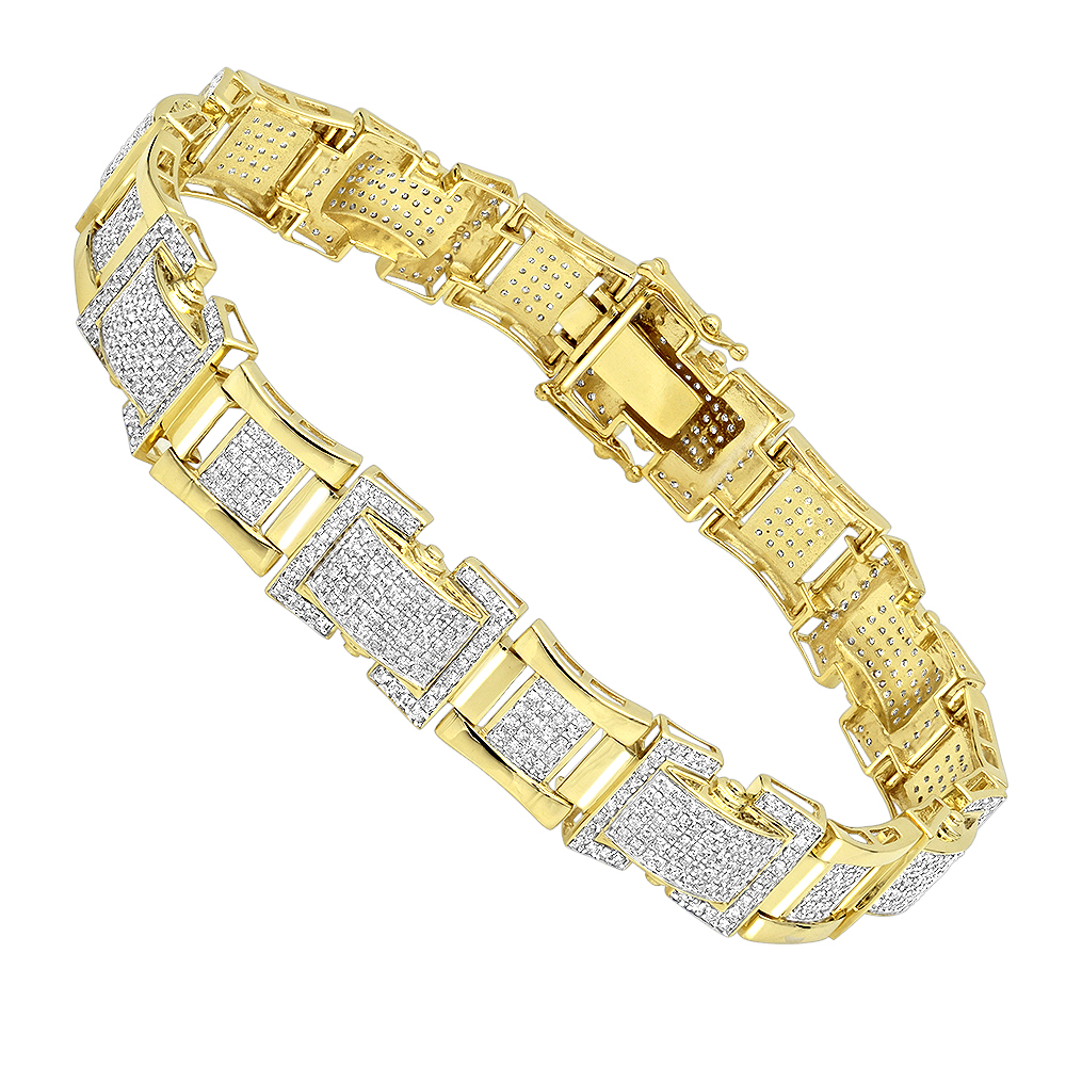 Solid 10K Gold Diamond Bracelet for Men 3.1ct by Luxurman