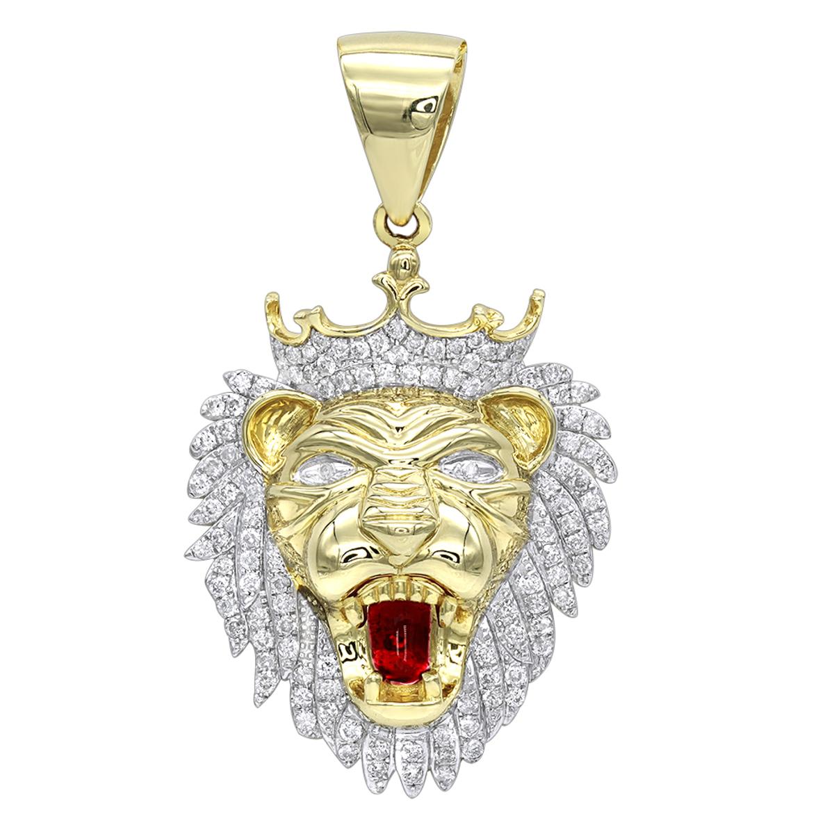 Solid 10k gold diamond king lion head pendant for men 12ct luxurman solid 10k gold diamond king lion head pendant for men 12ct luxurman charm aloadofball Choice Image