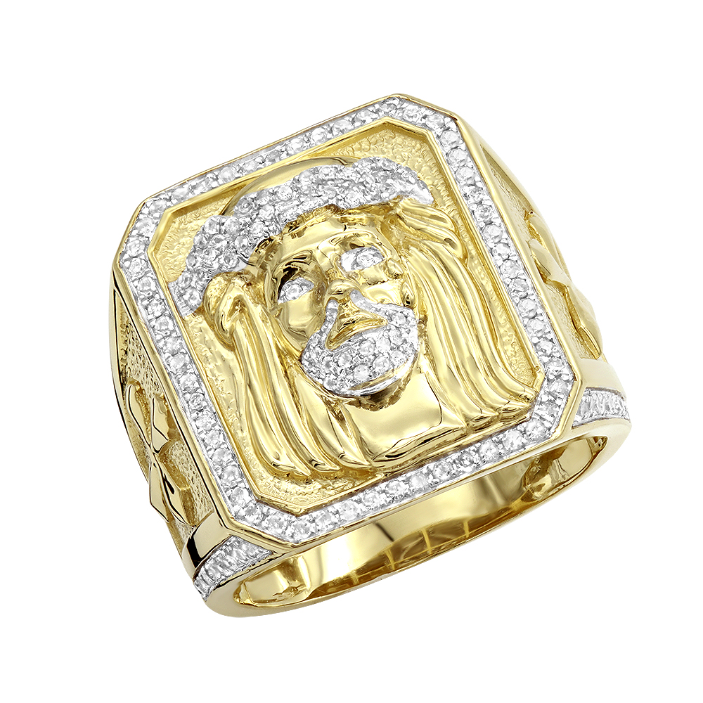 Solid 10K Gold Jesus Face Diamond Ring for Men 0.65ct by Luxurman