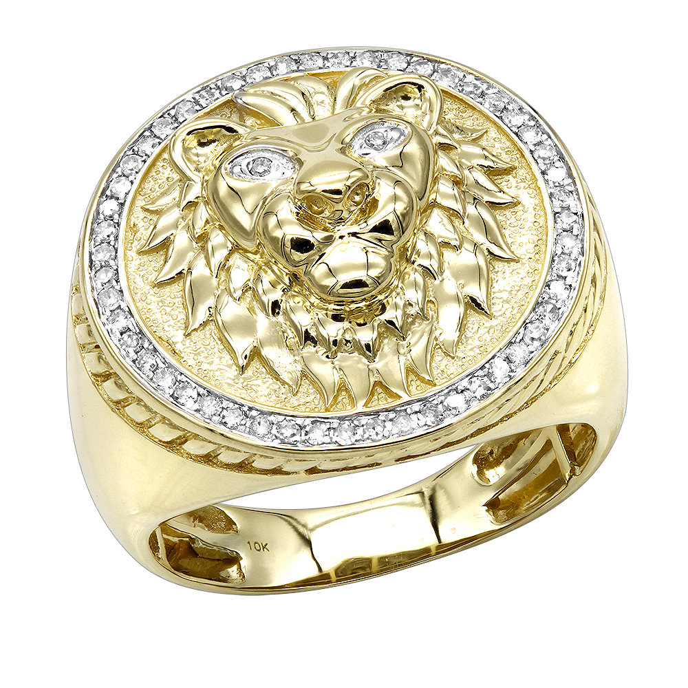 Solid 10K Gold Lion Head Diamond Ring for Men 0.3ct Luxurman Pinky Rings