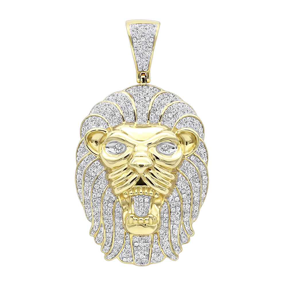 Solid 10k Gold Lion Head Pendant with Diamonds for Men 1.2ct