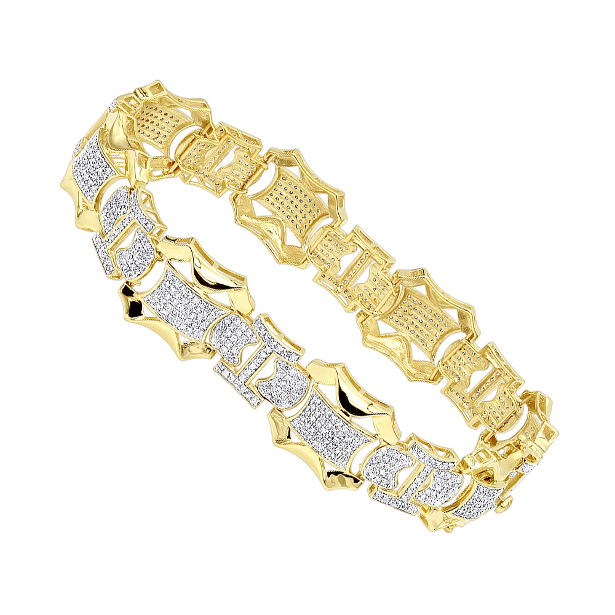 Solid 10k Gold Mens Diamond Bracelet by Luxurman 3 Carats of Diamonds