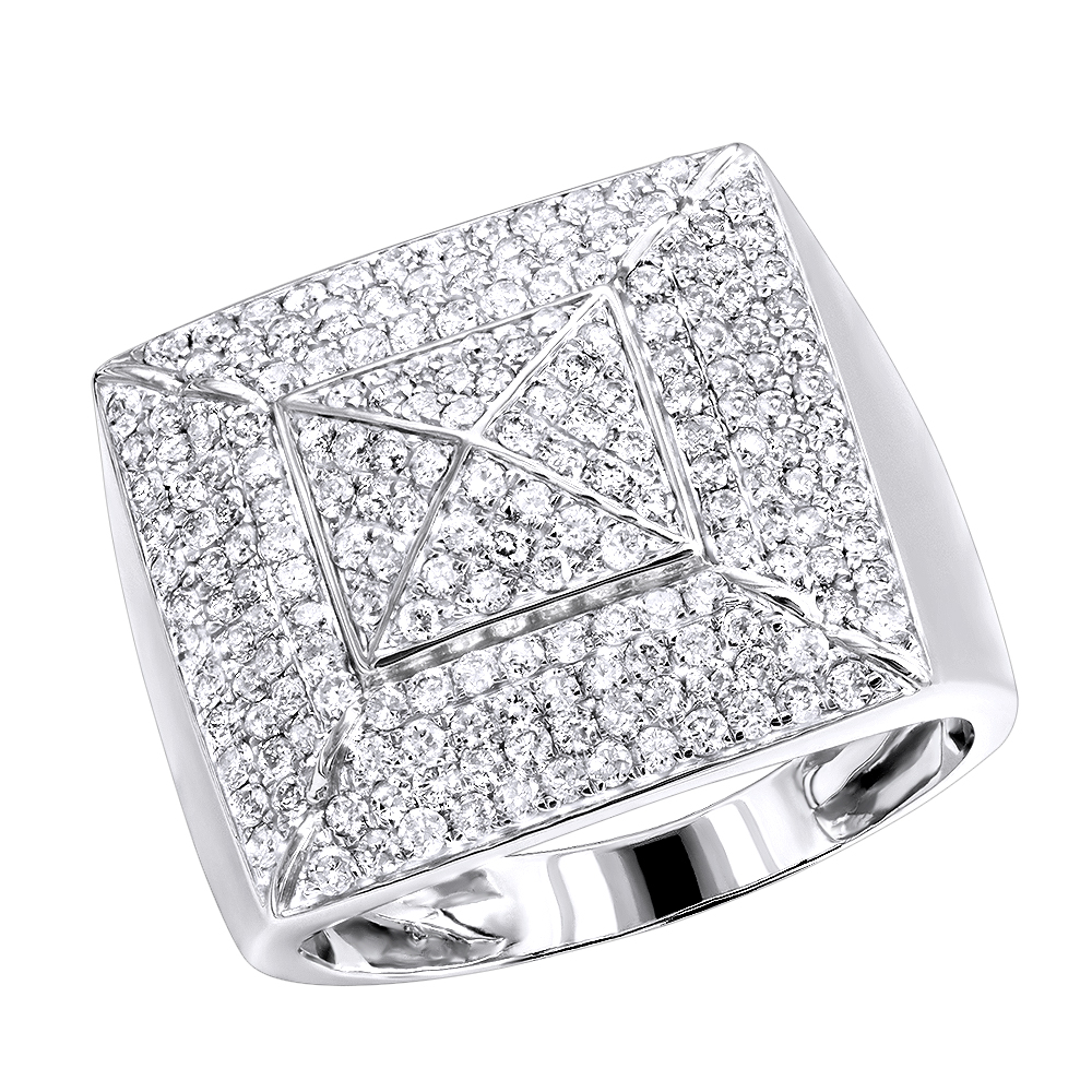 Solid 10K Gold Pyramid Shaped 2 Carat Diamond Mens Pinky Ring LUXURMAN