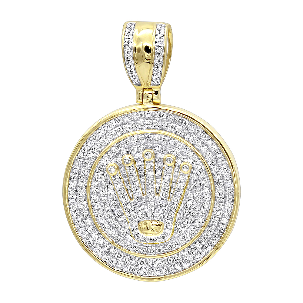 Solid 10k Gold Real Diamond Crown Pendant for Men Iced Out Round Medallion