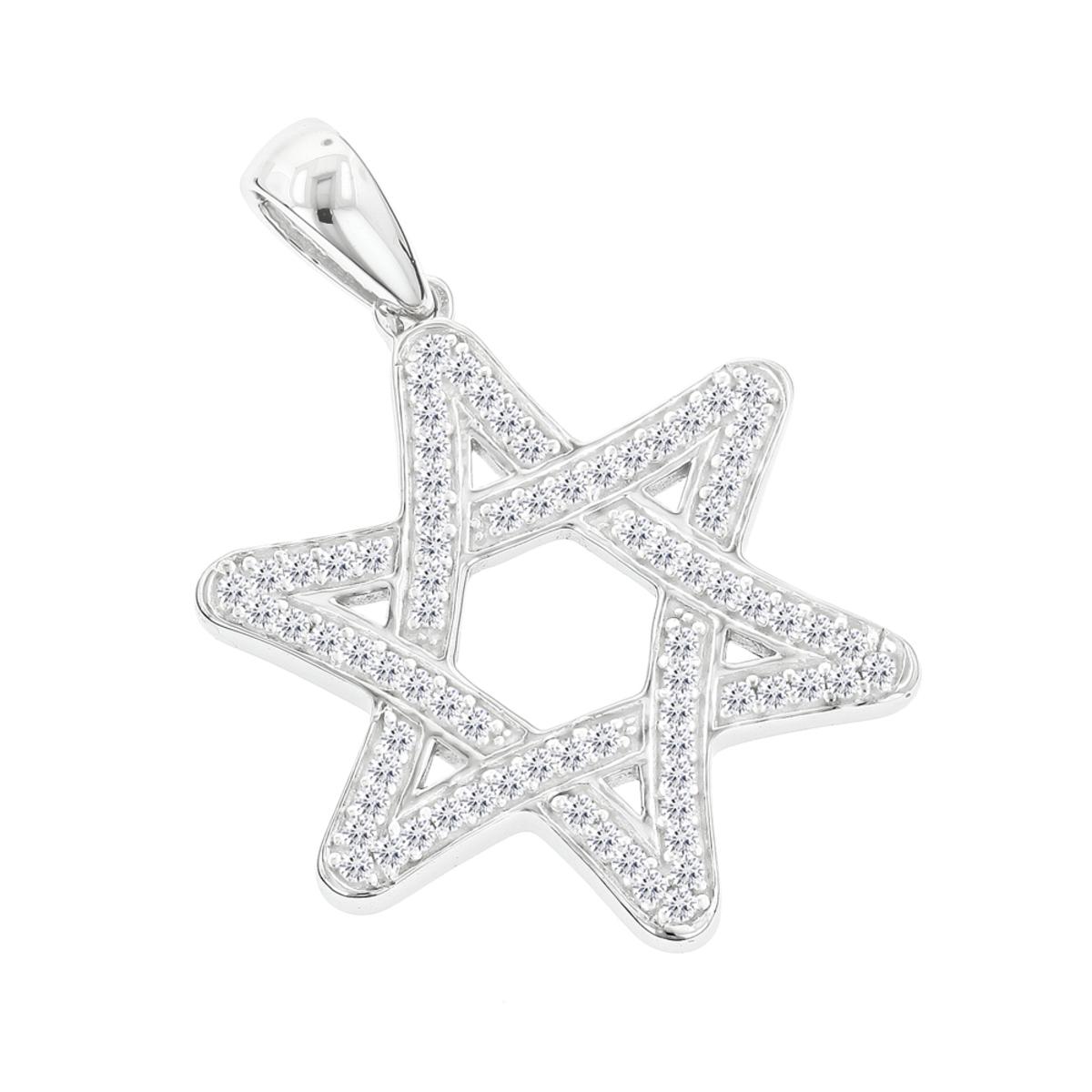 Solid 14K Gold Diamond Star of David Pendant 0.27ct